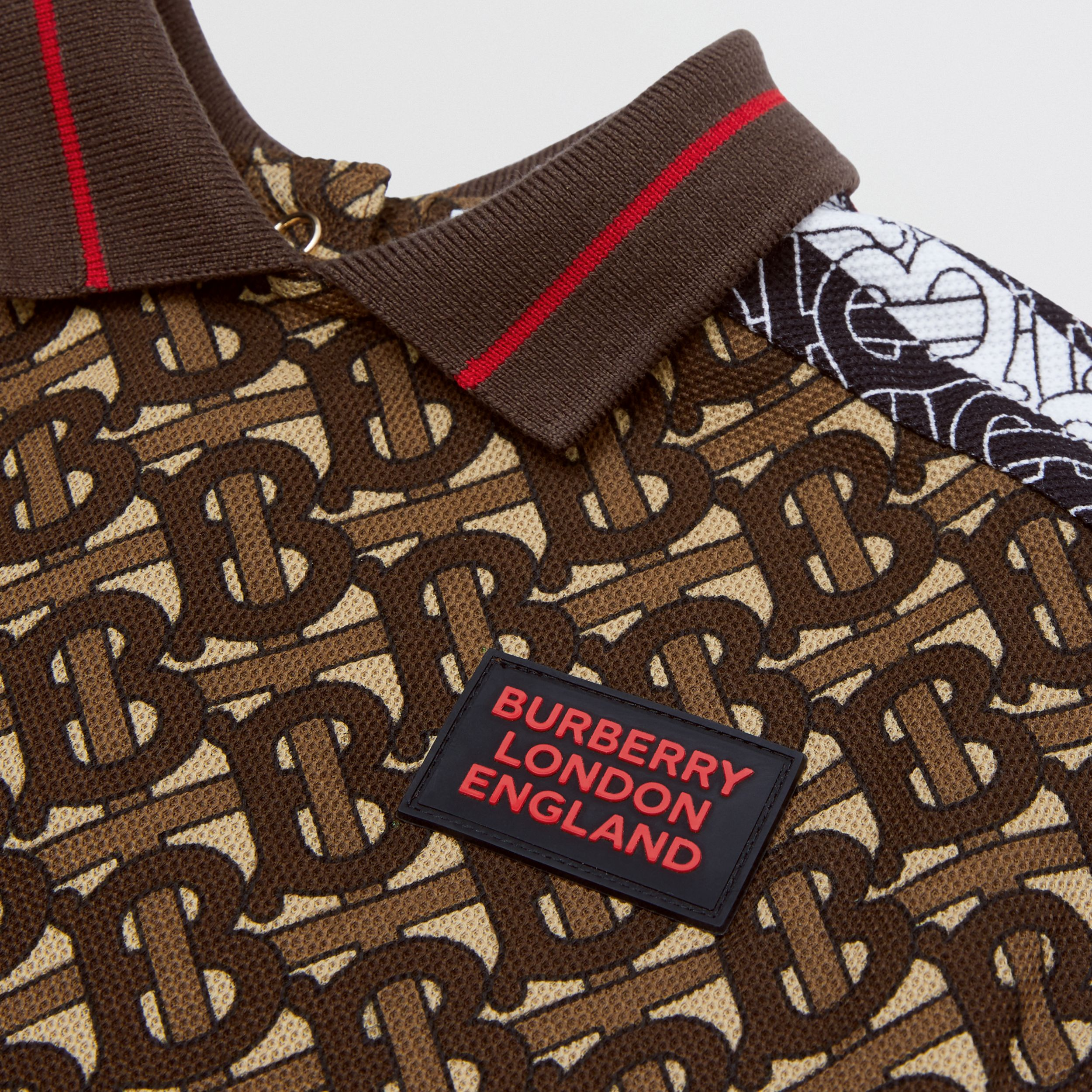 Monogram Stripe Print Cotton Piqué Jumpsuit in Bridle Brown - Children | Burberry - 2