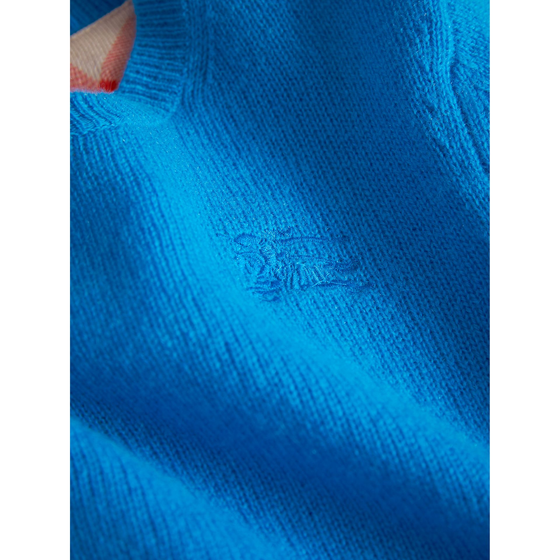 Check Elbow Patch Cashmere Sweater in Cyan Blue - Boy | Burberry - gallery image 1