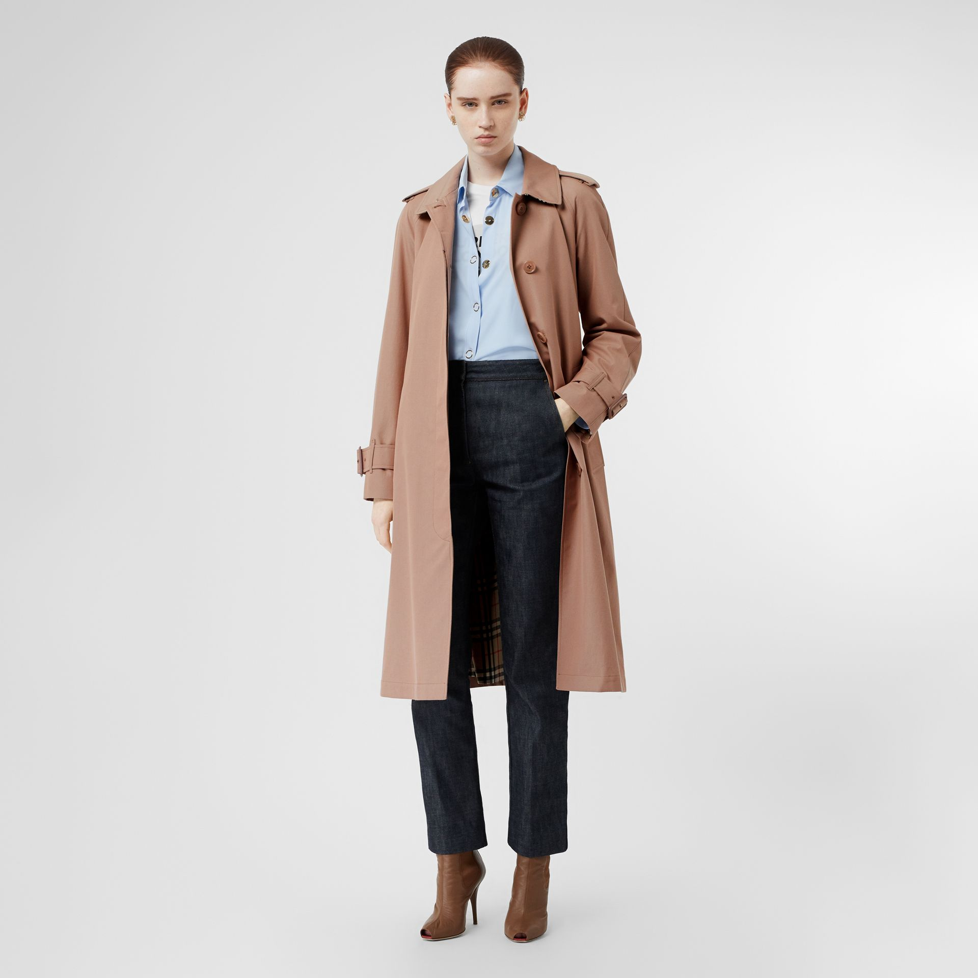 Tropical Gabardine Belted Car Coat in Pink Apricot - Women | Burberry United Kingdom - gallery image 0