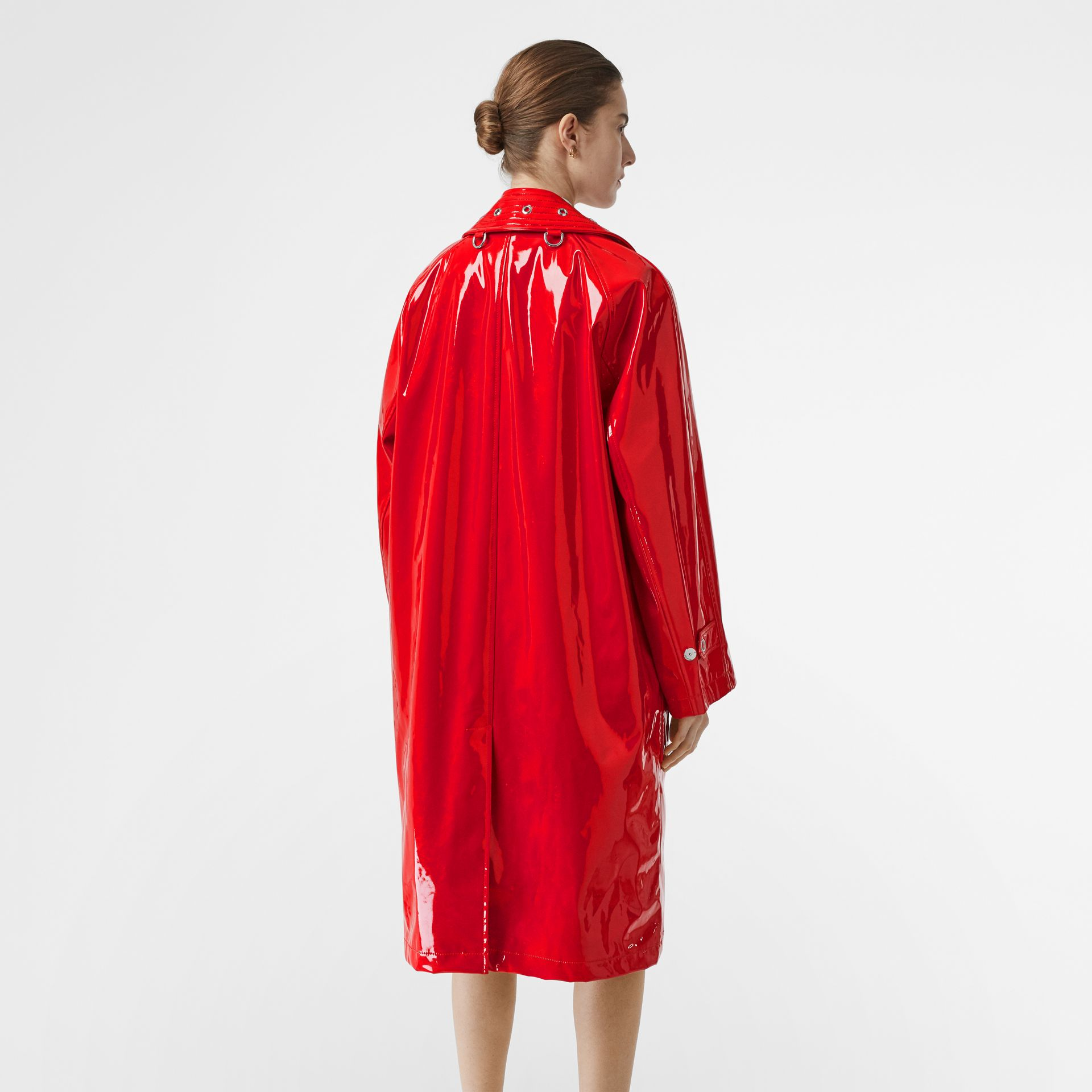 Belt Detail Laminated Car Coat in Bright Red - Women | Burberry - gallery image 2