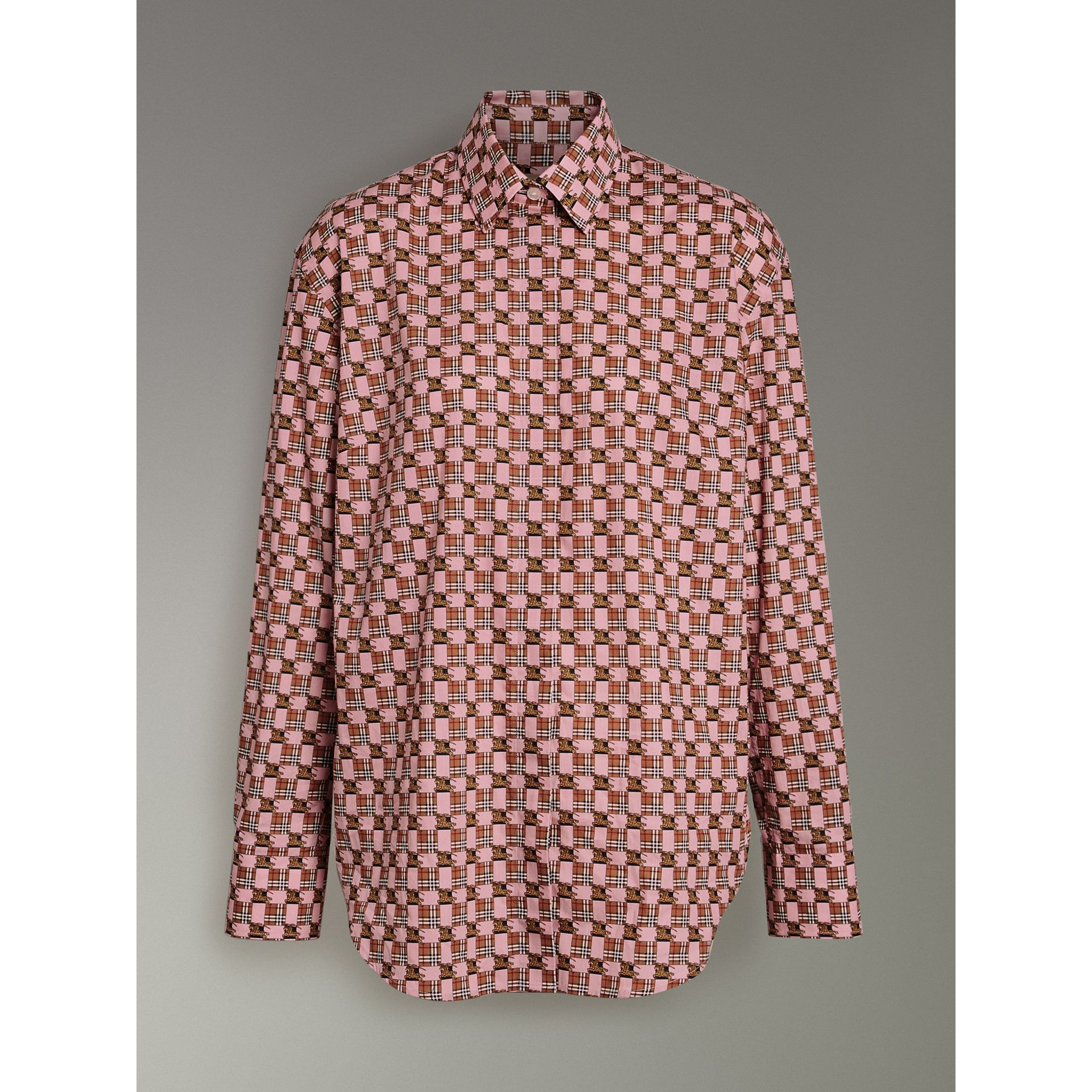 Tiled Archive Print Cotton Shirt in Pink - Women | Burberry - gallery image 3