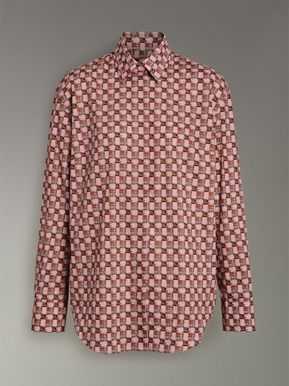 Tiled Archive Print Cotton Shirt in Pink - Women | Burberry - cell image 3