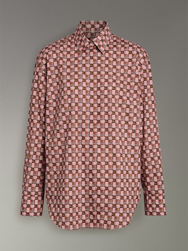 Tiled Archive Print Cotton Shirt in Pink - Women | Burberry United Kingdom - cell image 3