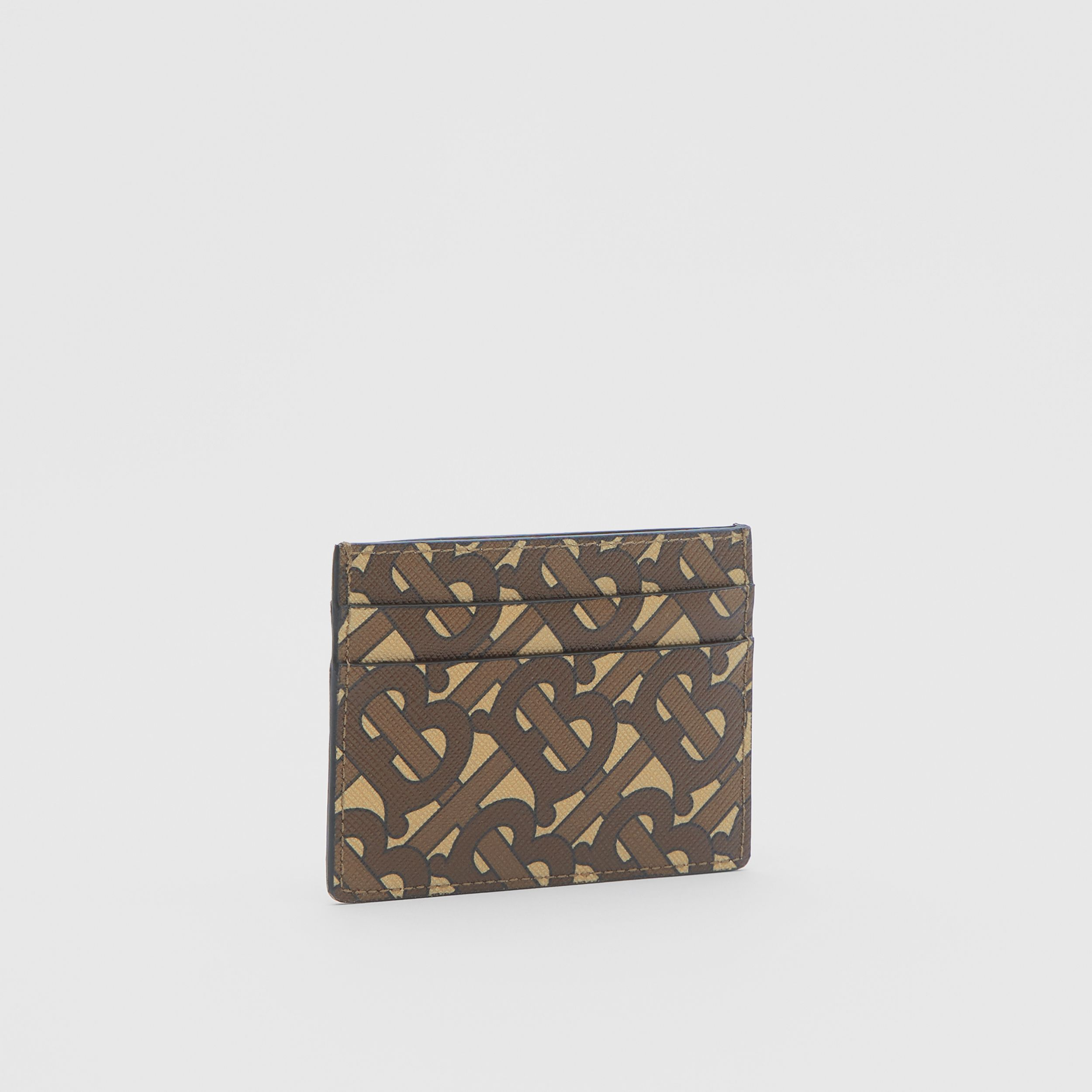 Monogram Print E-canvas Card Case in Bridle Brown | Burberry - 4