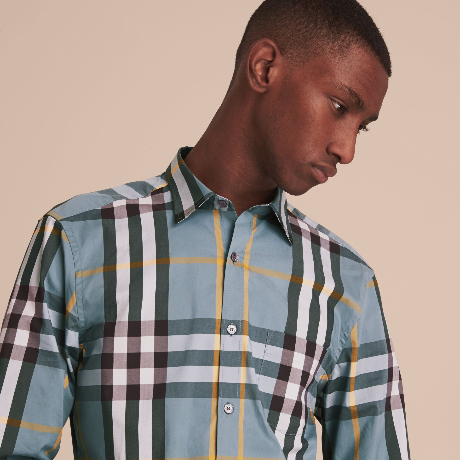 Check Stretch Cotton Shirt in Mineral Blue - Men | Burberry - gallery image 5