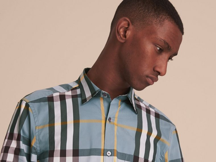 Check Stretch Cotton Shirt in Mineral Blue - Men | Burberry - cell image 4