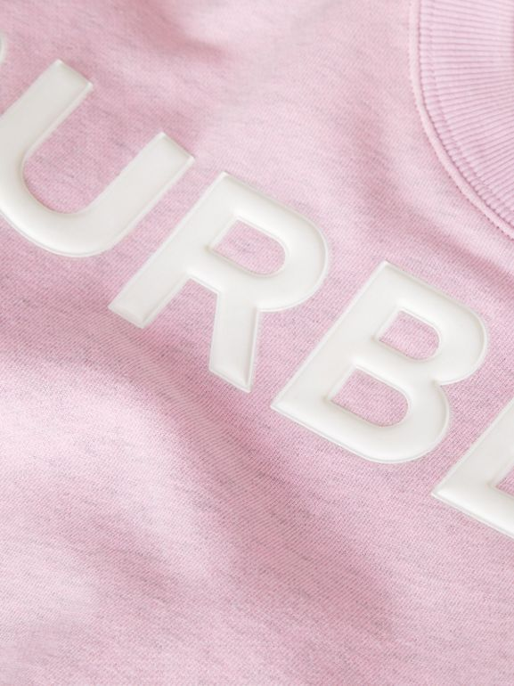 Logo Detail Cotton Sweatshirt in Pale Neon Pink - Children | Burberry - cell image 1