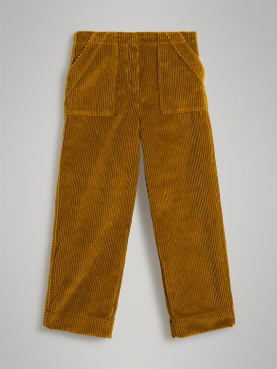 Corduroy Wide-leg Trousers in Ochre