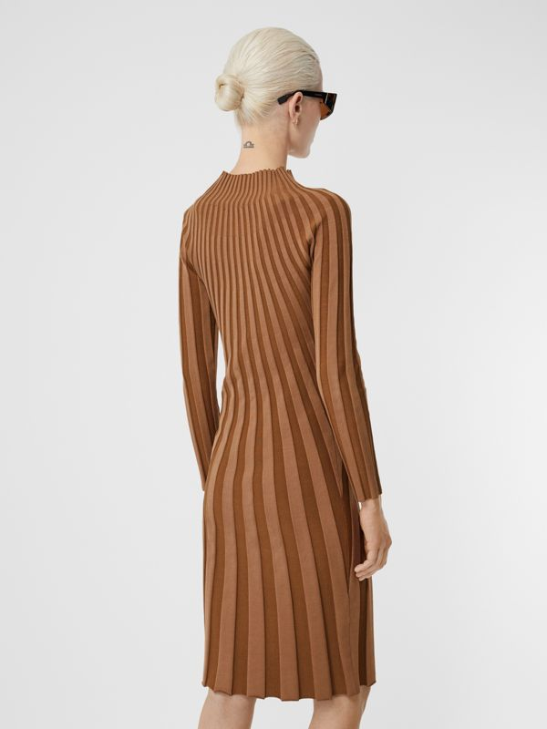 Long-sleeve Rib Knit Stretch Silk Blend Dress in Truffle - Women | Burberry - cell image 2