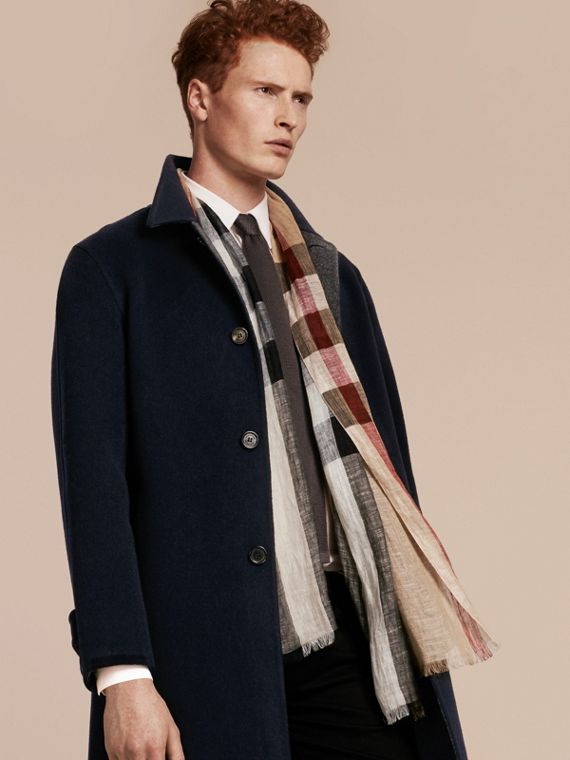 Lightweight Check Linen Scarf in Camel | Burberry - cell image 2