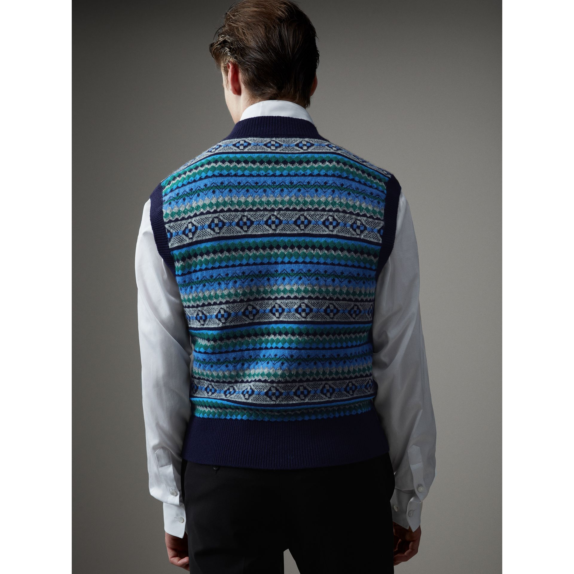 Fair Isle Wool Cropped Tank Top in Navy - Men | Burberry - gallery image 3