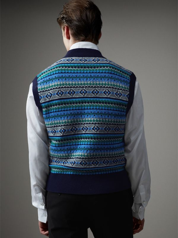 Fair Isle Wool Cropped Tank Top in Navy - Men | Burberry - cell image 2