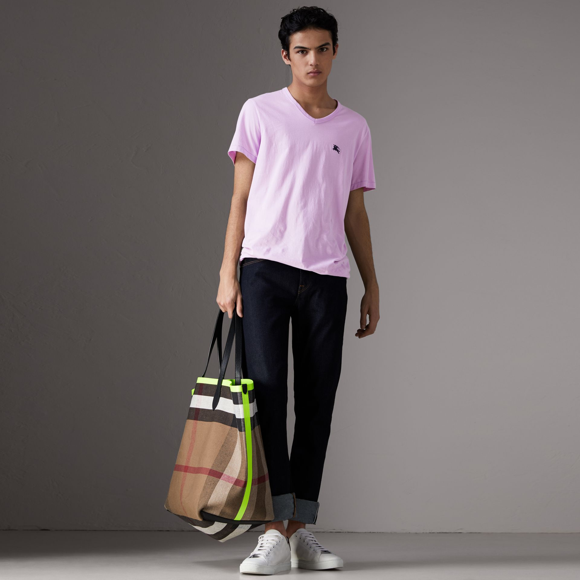 Cotton Jersey T-shirt in Pale Fuchsia - Men | Burberry United States - gallery image 0