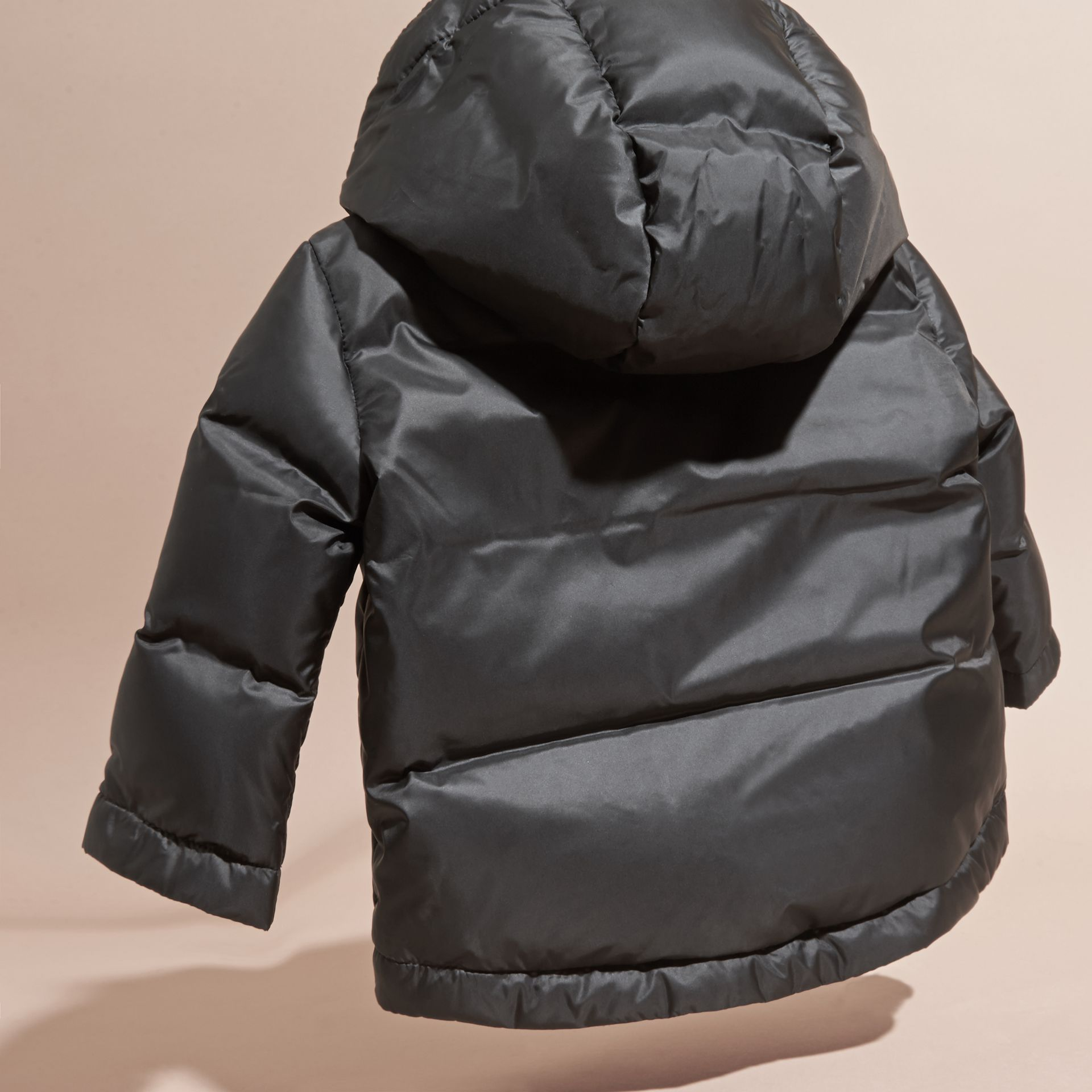 Down-filled Hooded Puffer Jacket in Black | Burberry - gallery image 3