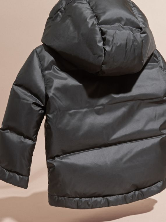 Black Down-filled Hooded Puffer Jacket Black - cell image 3