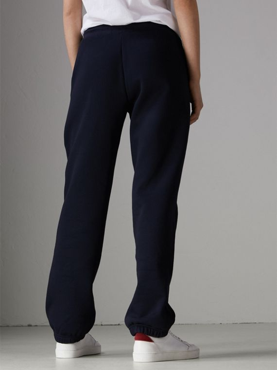 Embroidered Jersey Sweatpants in Navy - Women | Burberry United Kingdom - cell image 2