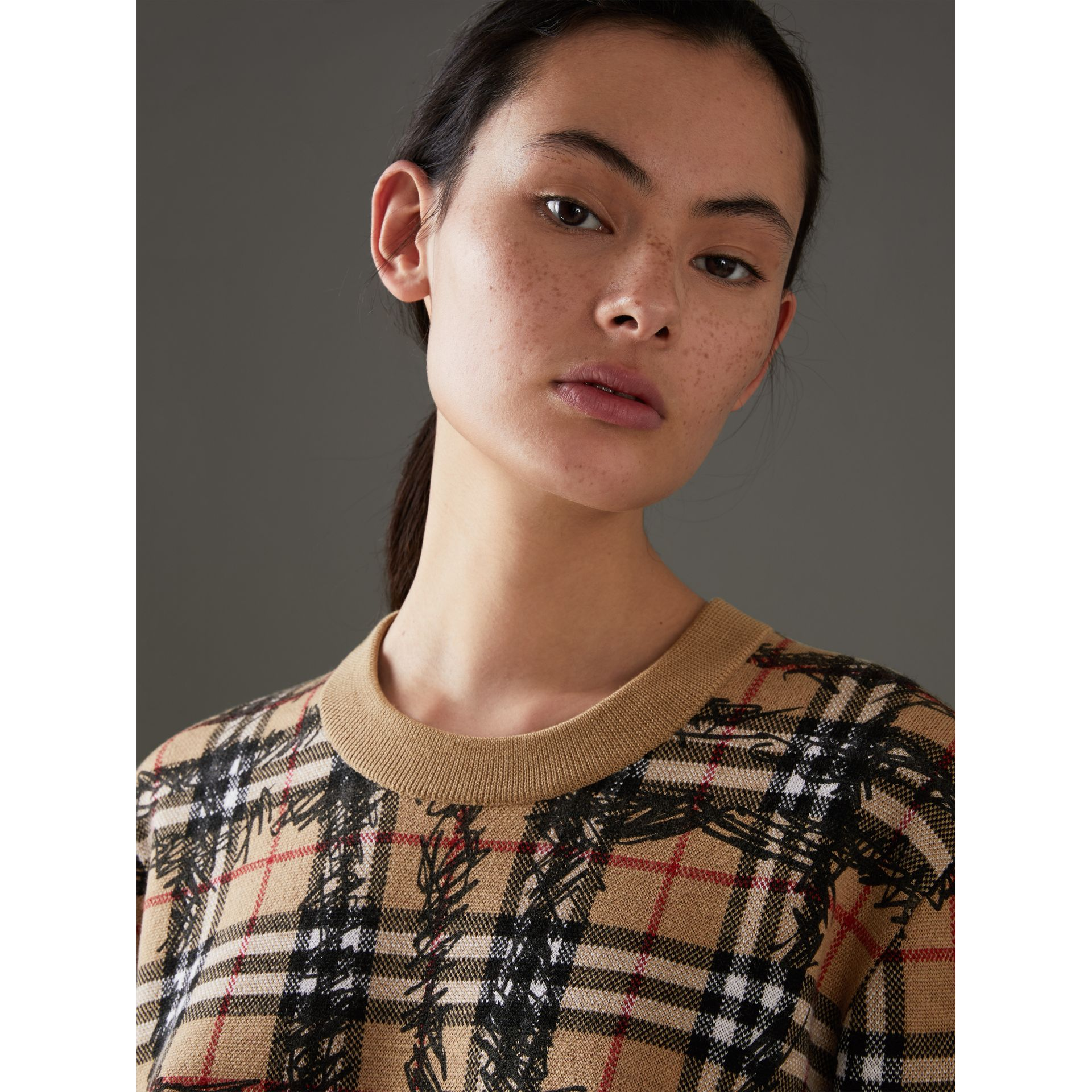 Scribble Check Merino Wool Sweater in Camel/black - Women | Burberry Hong Kong - gallery image 1