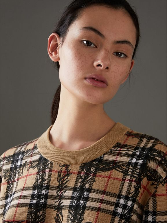 Scribble Check Merino Wool Sweater in Camel/black - Women | Burberry Singapore - cell image 1