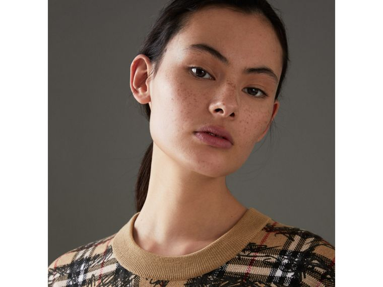 Scribble Check Merino Wool Sweater in Camel/black - Women | Burberry - cell image 1