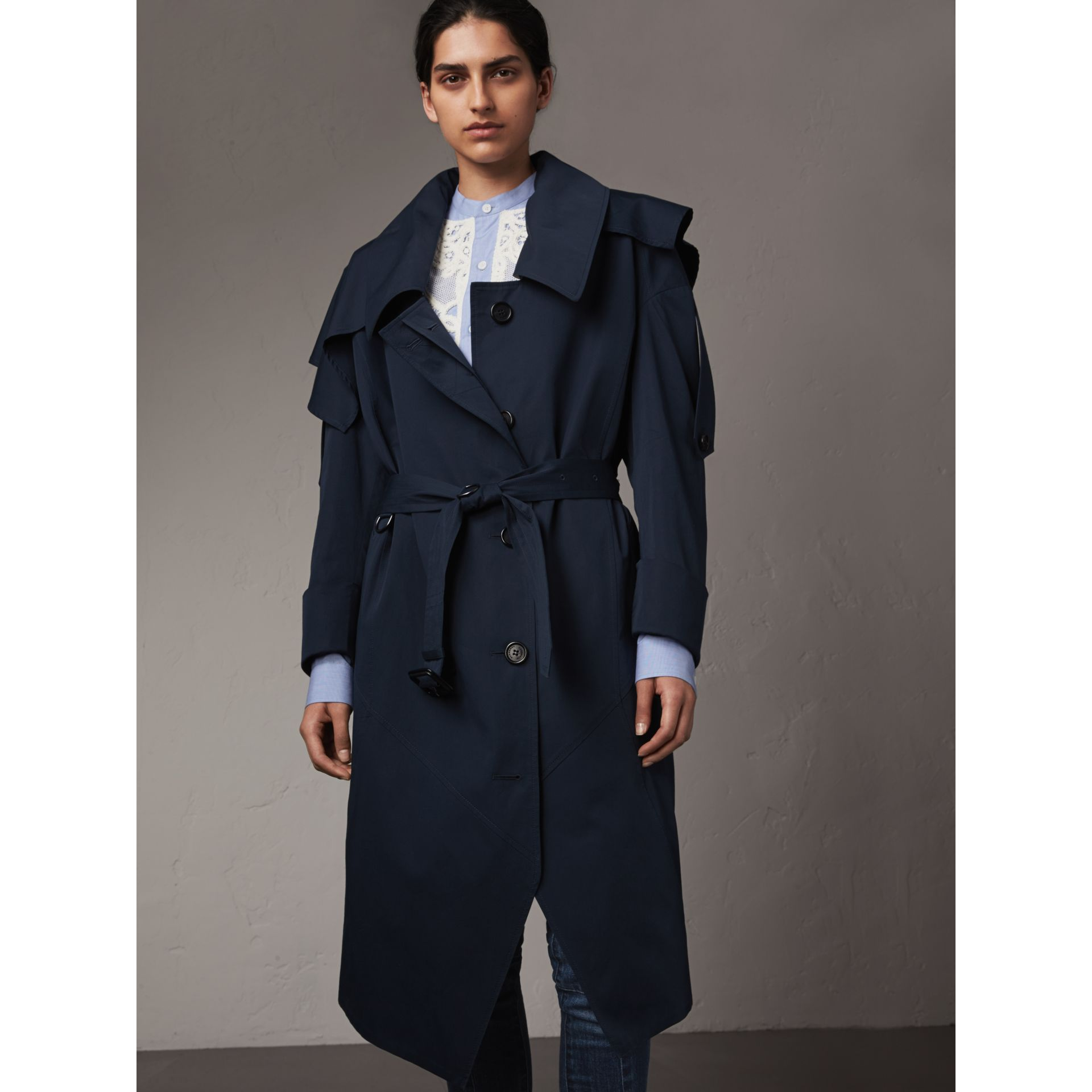 Cotton Asymmetric Trench Coat in Navy - Women | Burberry - gallery image 6