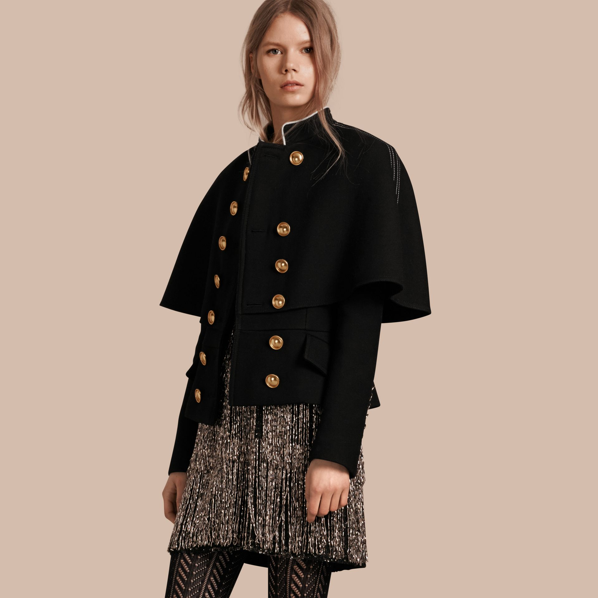 Black Wool Silk Military Cape Jacket - gallery image 7