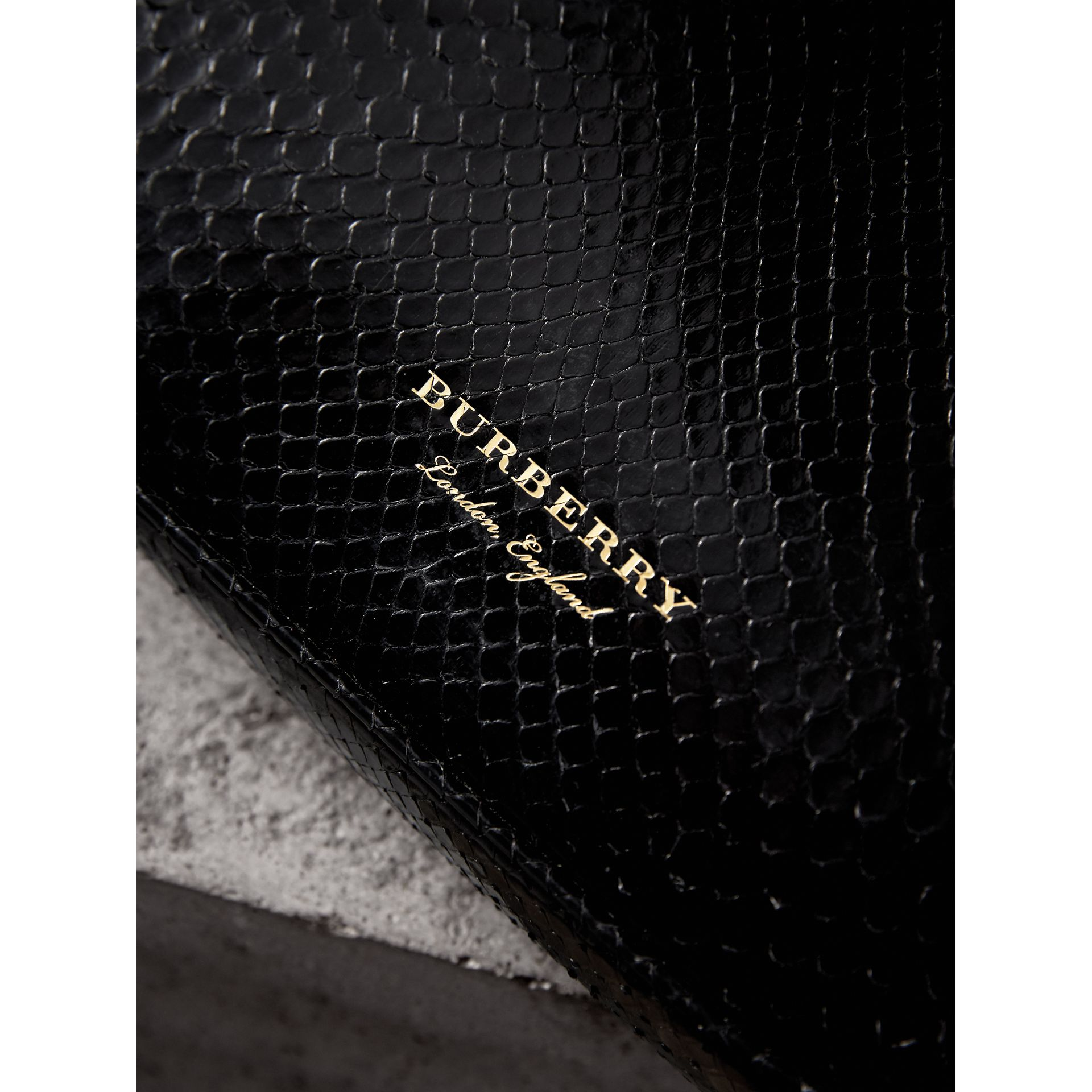 Small Two-tone Python Metal Frame Clutch Bag in Black - Women | Burberry - gallery image 1