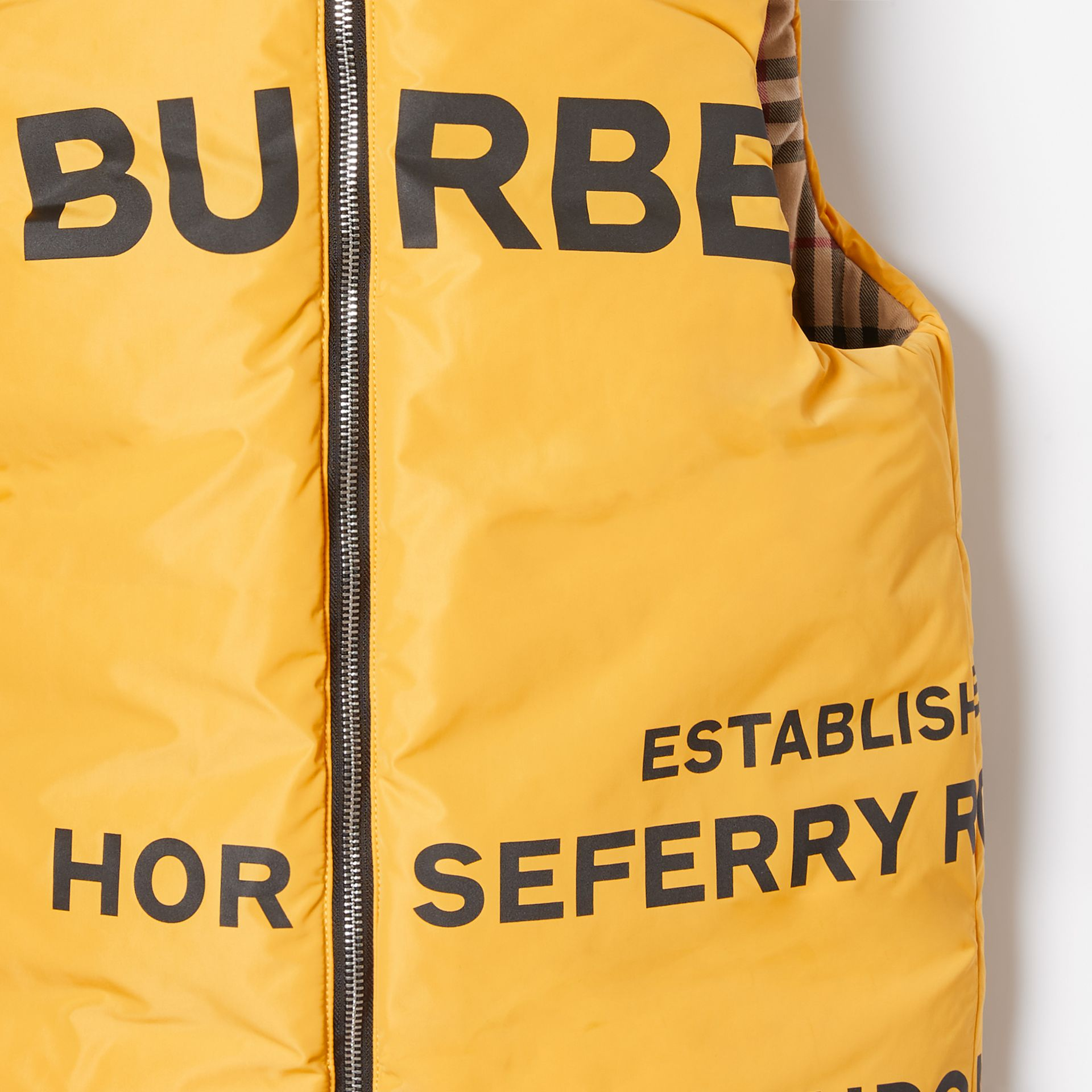 Reversible Horseferry Print Shape-memory Taffeta Gilet in Souwester Yellow | Burberry - gallery image 6
