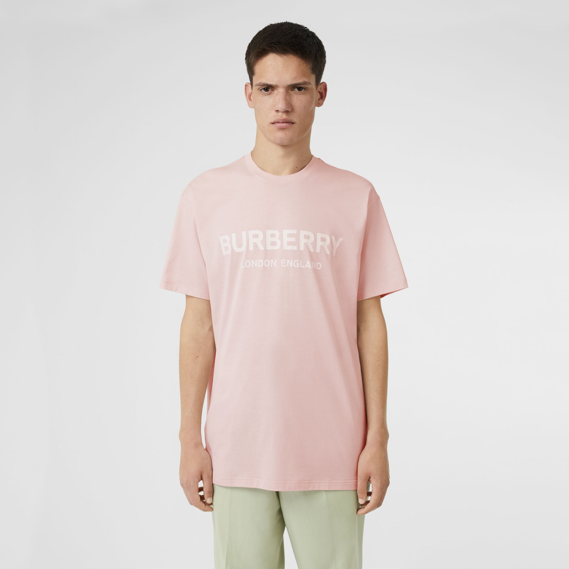 Logo Print Cotton T-shirt in Alabaster Pink - Men | Burberry United Kingdom - gallery image 0