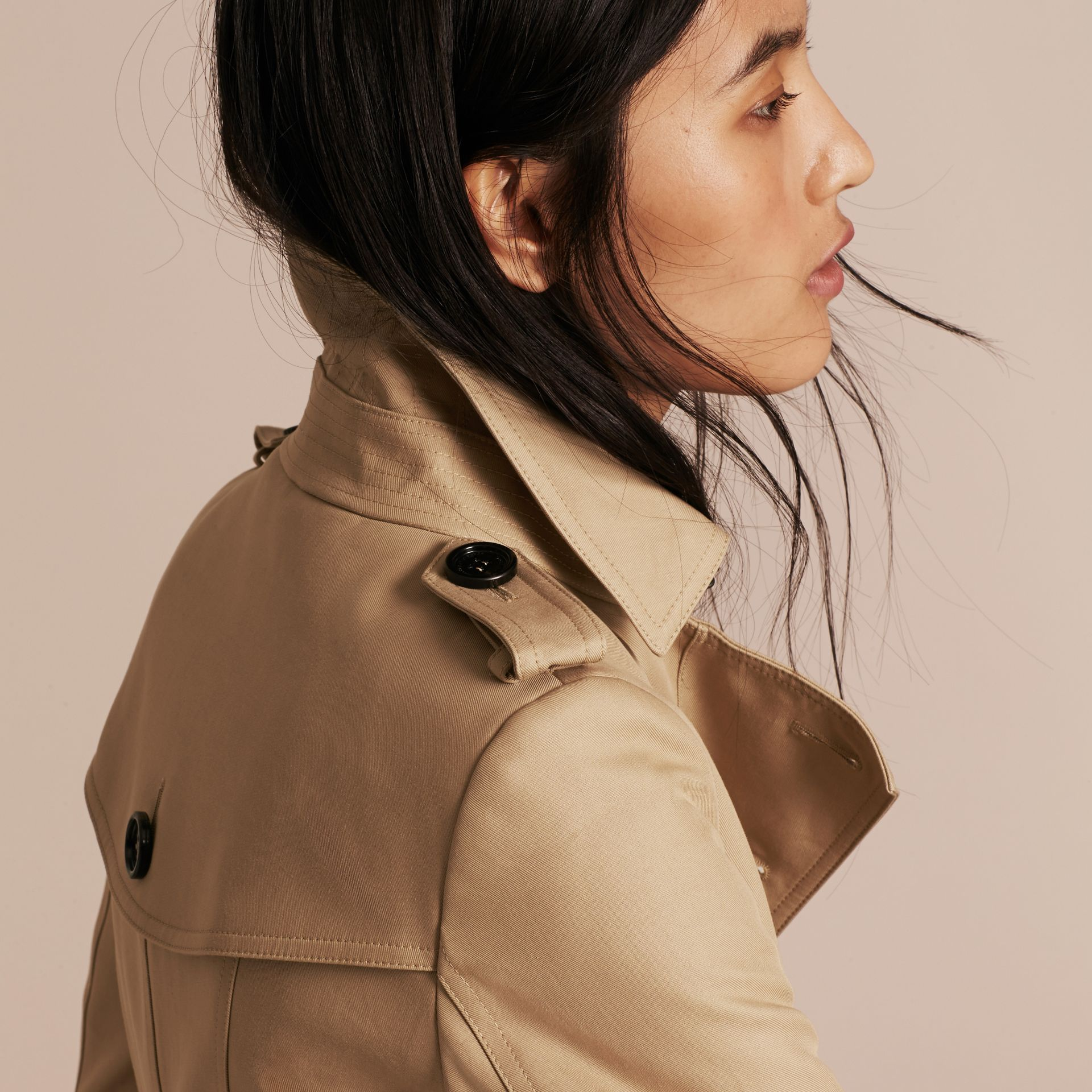 Honey Cotton Gabardine Trench Coat Honey - gallery image 5