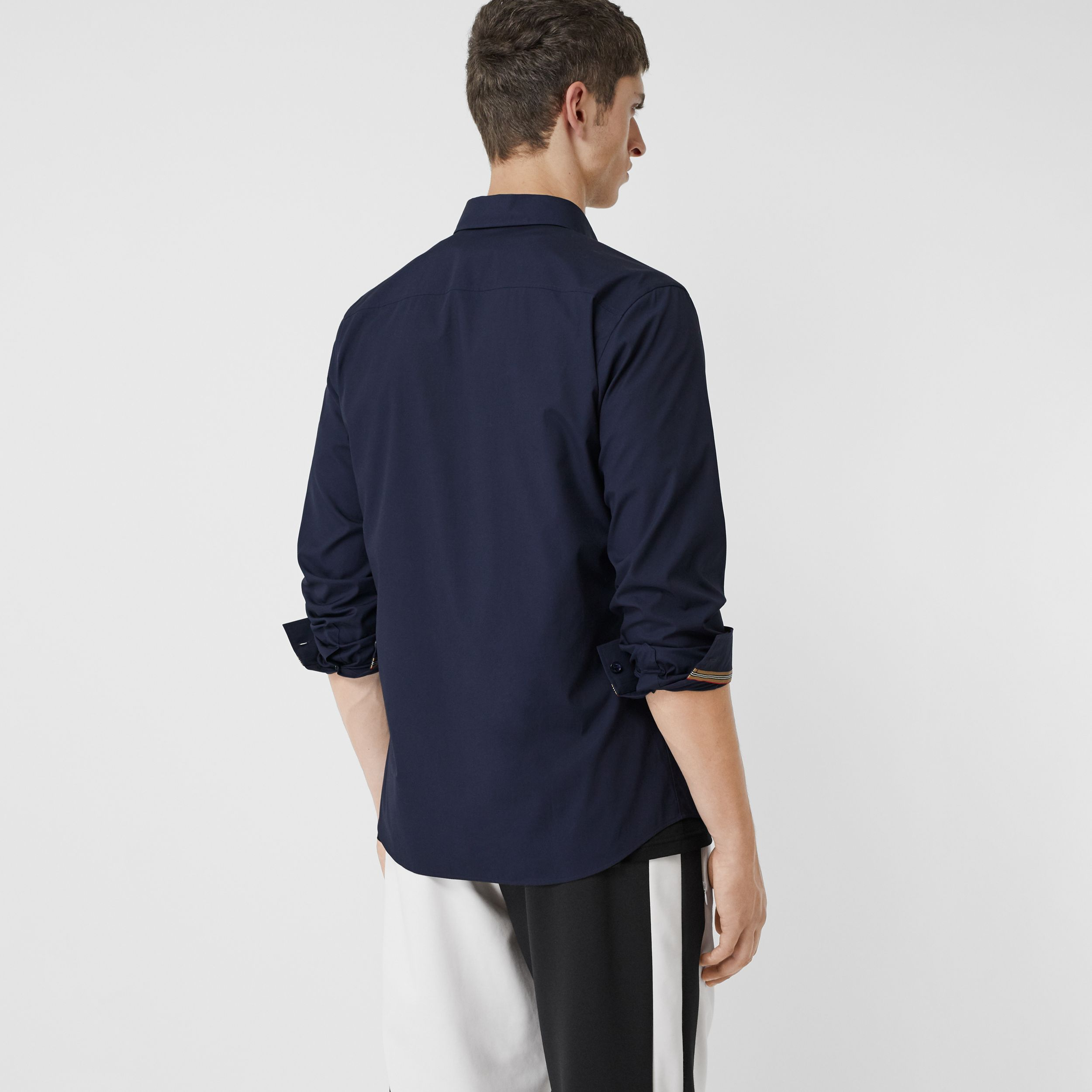 Monogram Motif Stretch Cotton Poplin Shirt in Navy - Men | Burberry United Kingdom - 3