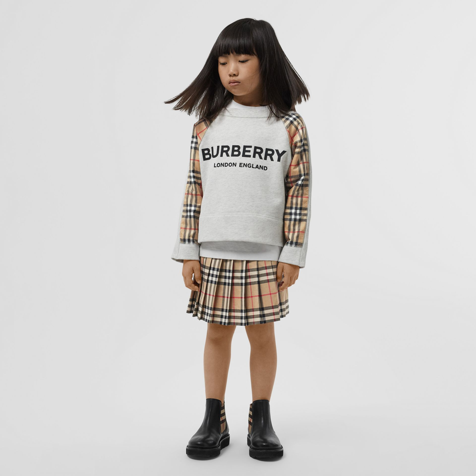 Vintage Check Detail Logo Print Cotton Sweatshirt in White Melange | Burberry Singapore - gallery image 3