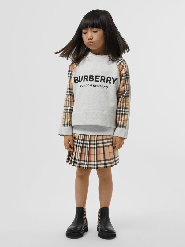 Vintage Check Detail Logo Print Cotton Sweatshirt in White Melange | Burberry - cell image 3