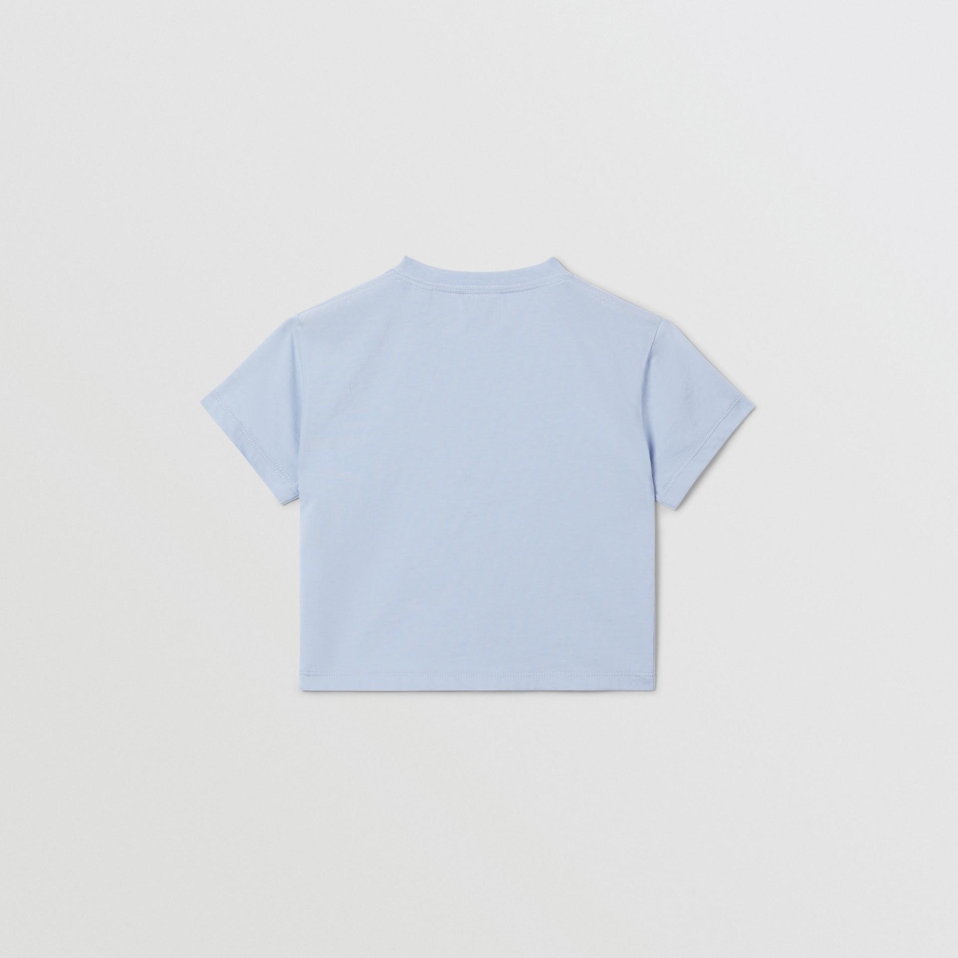 Logo Print Cotton T-shirt in Light Blue - Children | Burberry Canada - gallery image 4