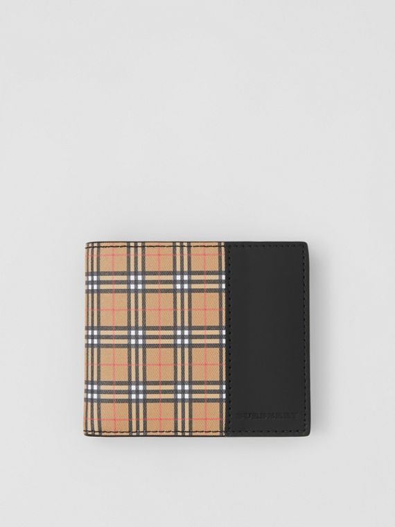 Small Scale Check and Leather Bifold Coin Wallet in Antique Yellow/black