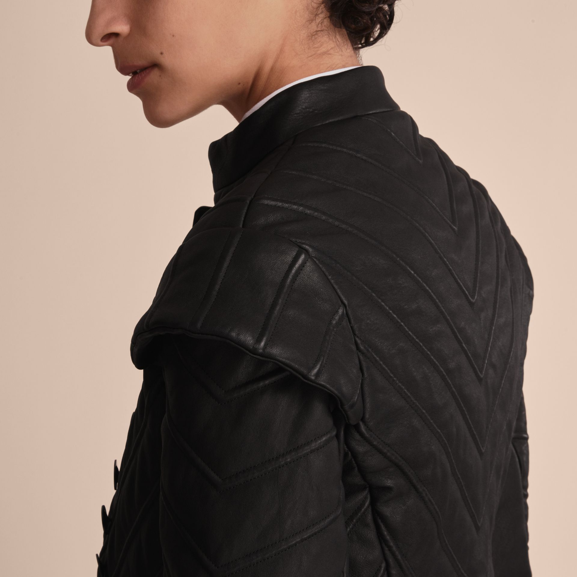 Quilted Lambskin Military-inspired Jacket in Black - Women | Burberry - gallery image 5