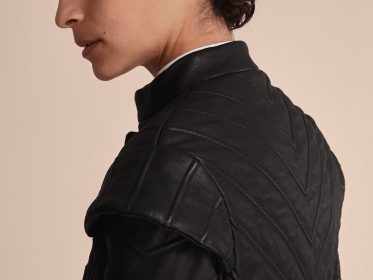 Quilted Lambskin Military-inspired Jacket in Black - Women | Burberry - cell image 4