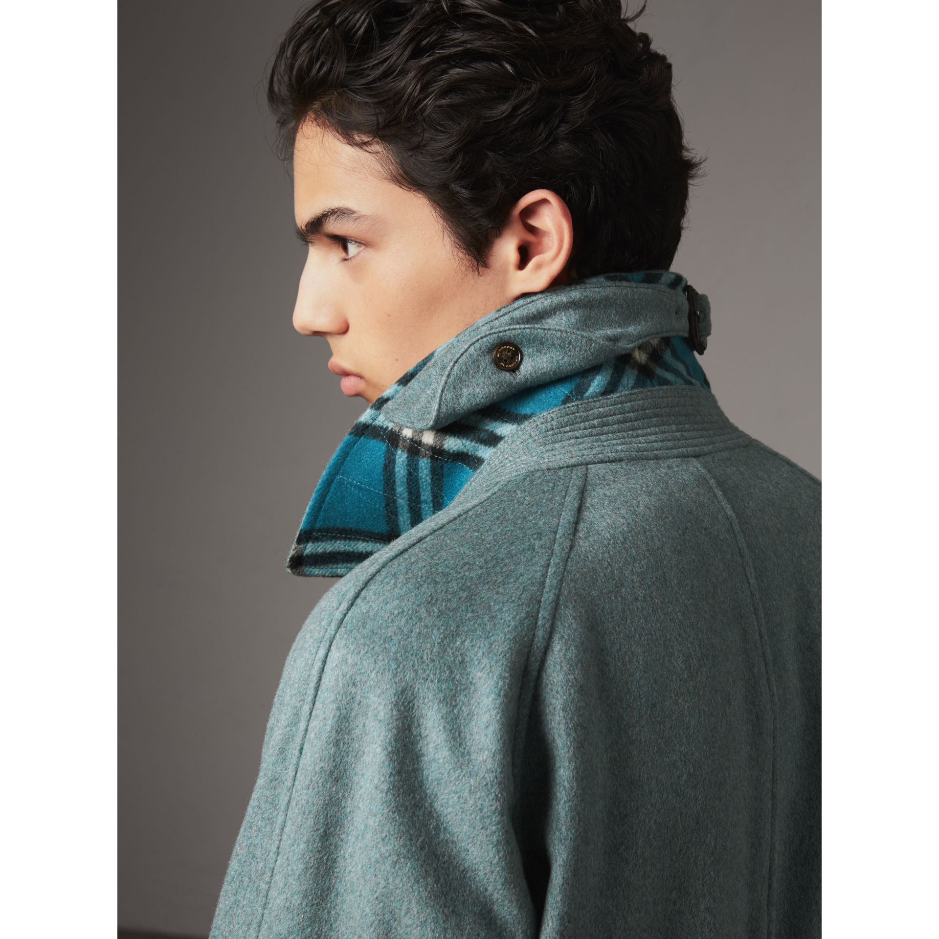 Cashmere Car Coat in Storm Green Melange - Men | Burberry - gallery image 4
