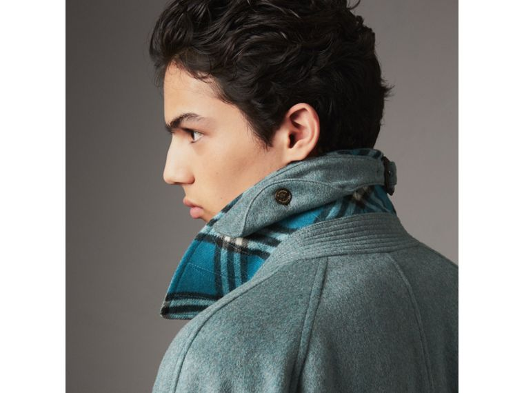 Cashmere Car Coat in Storm Green Melange - Men | Burberry - cell image 4