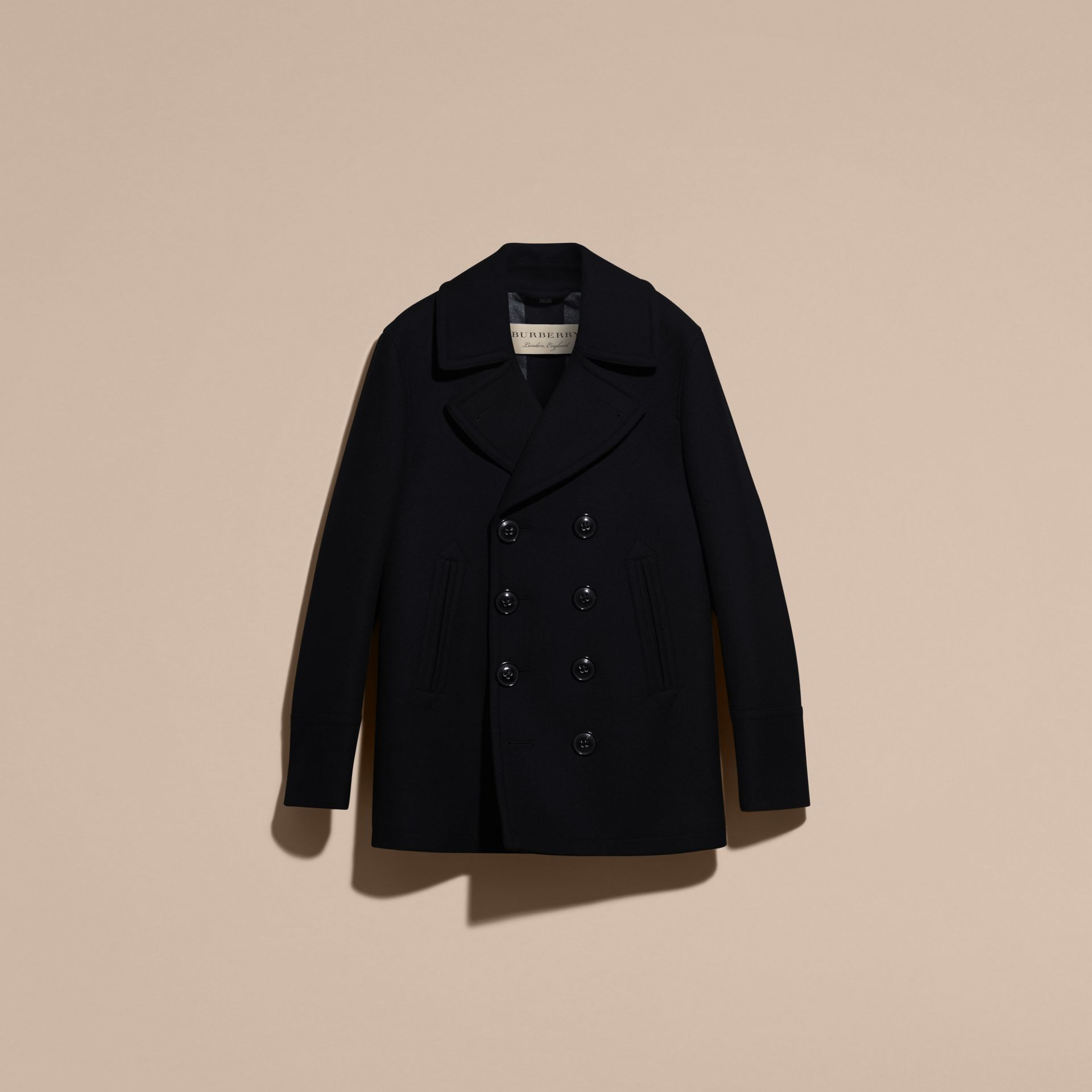 Navy Wool Cashmere Pea Coat Navy - gallery image 4