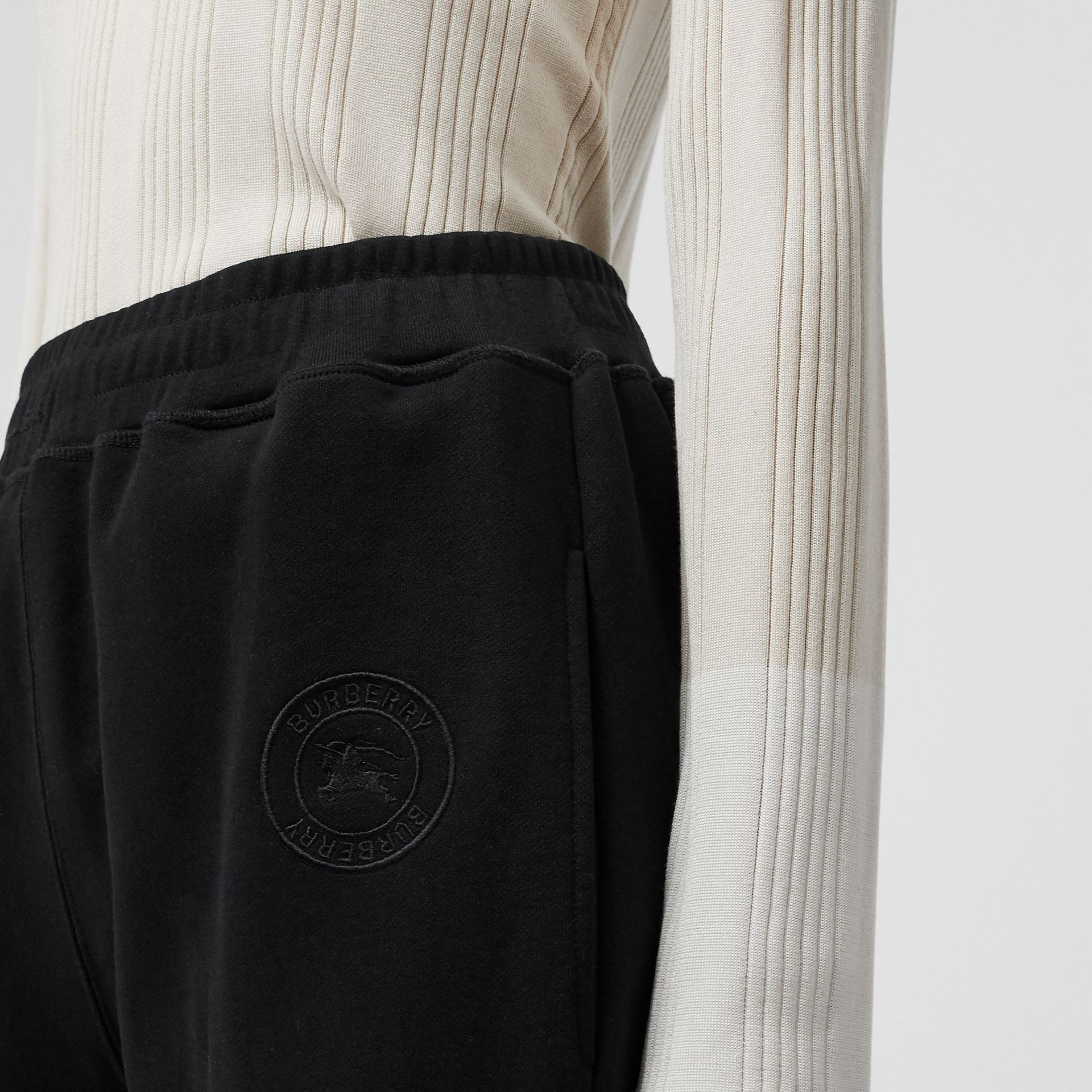 Pocket Detail Cotton Jersey Trackpants in Black - Women | Burberry - gallery image 1