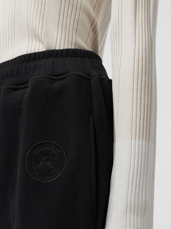 Pocket Detail Cotton Jersey Trackpants in Black - Women | Burberry Australia - cell image 1