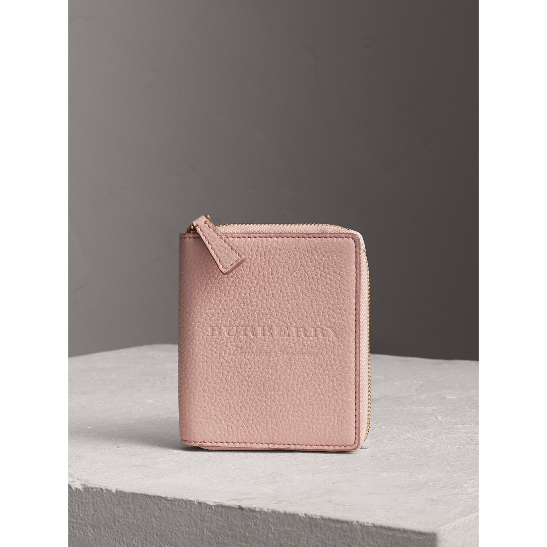 Embossed Grainy Leather Ziparound A6 Notebook Case in Pale Ash Rose | Burberry - gallery image 4