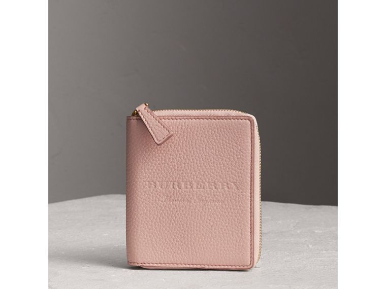 Embossed Grainy Leather Ziparound A6 Notebook Case in Pale Ash Rose | Burberry - cell image 4