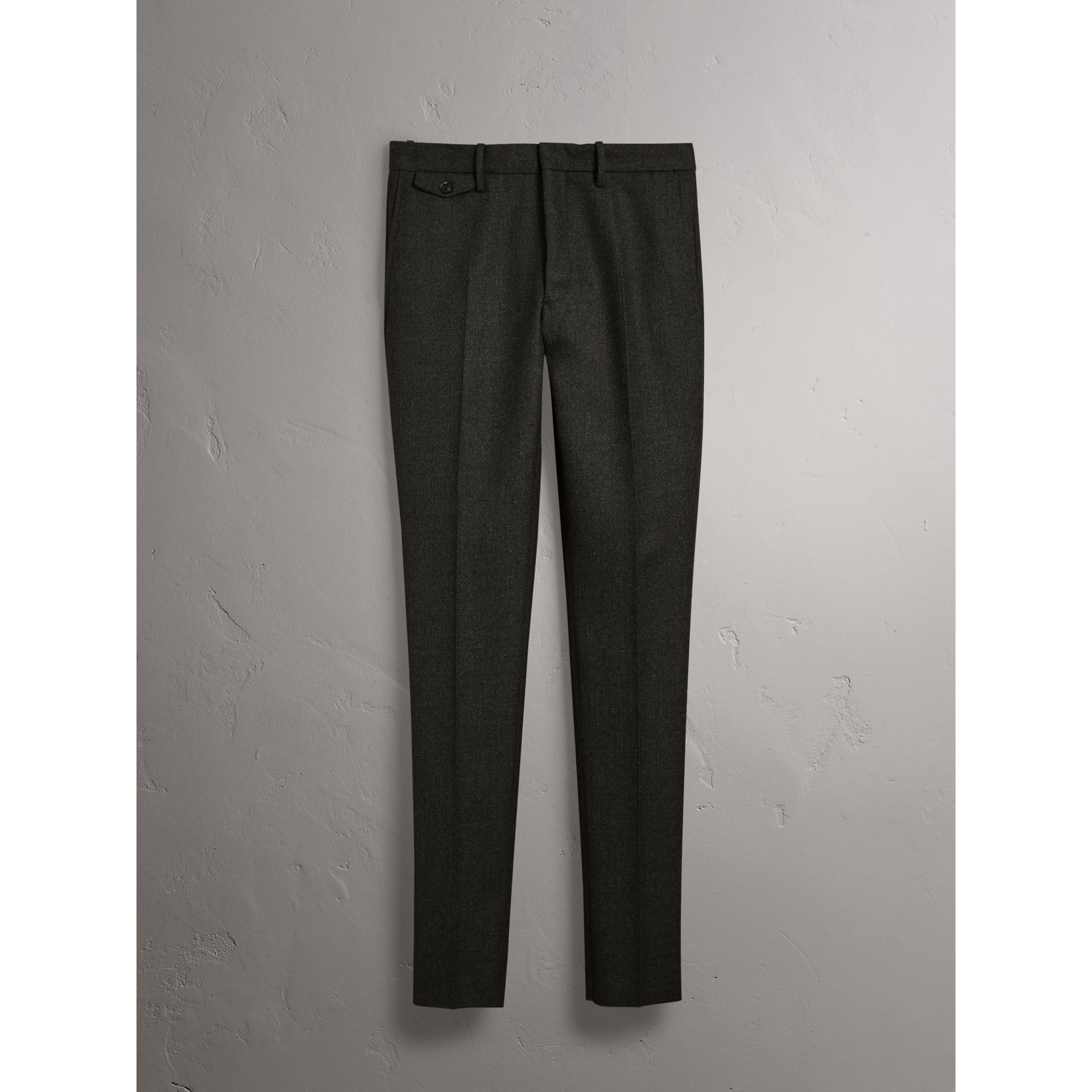 Wool Tailored Trousers in Dark Grey Melange - Men | Burberry United States - gallery image 3