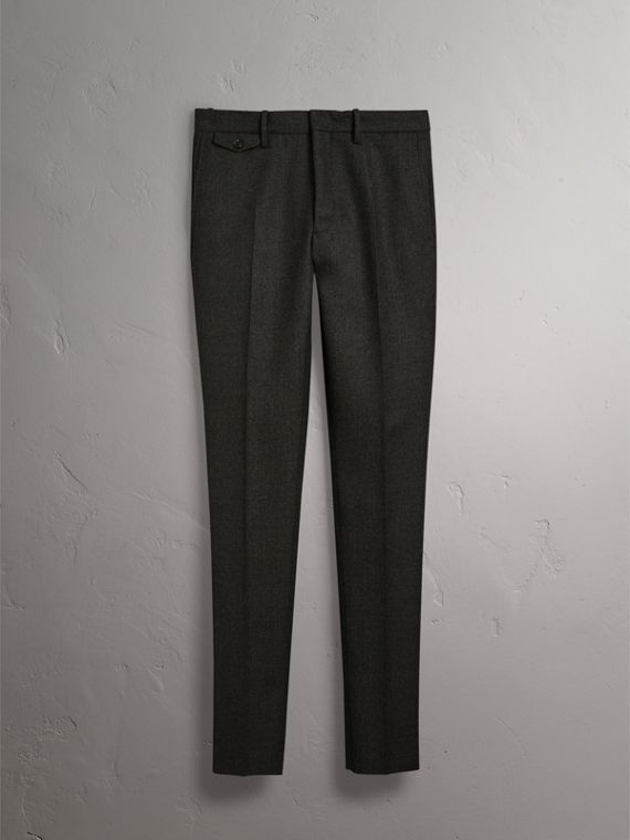 Wool Tailored Trousers in Dark Grey Melange - Men | Burberry Canada - cell image 3