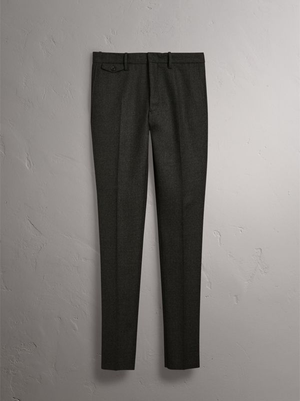 Wool Tailored Trousers in Dark Grey Melange - Men | Burberry - cell image 3