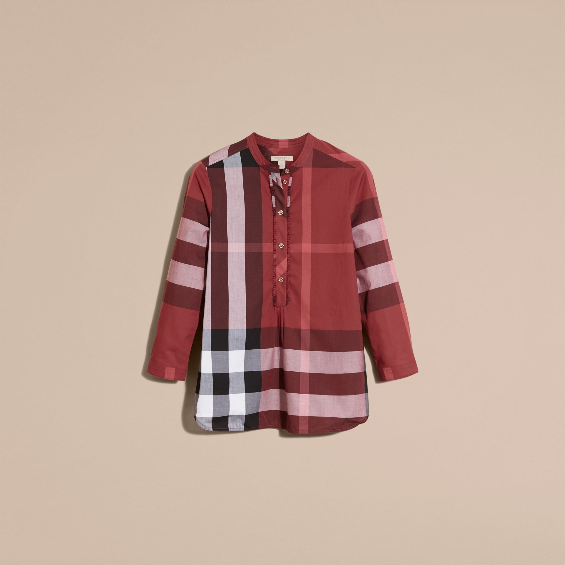 Check Grandad Collar Shirt Carmine Red - gallery image 4