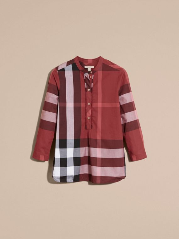 Check Cotton Tunic Shirt Carmine Red - cell image 3