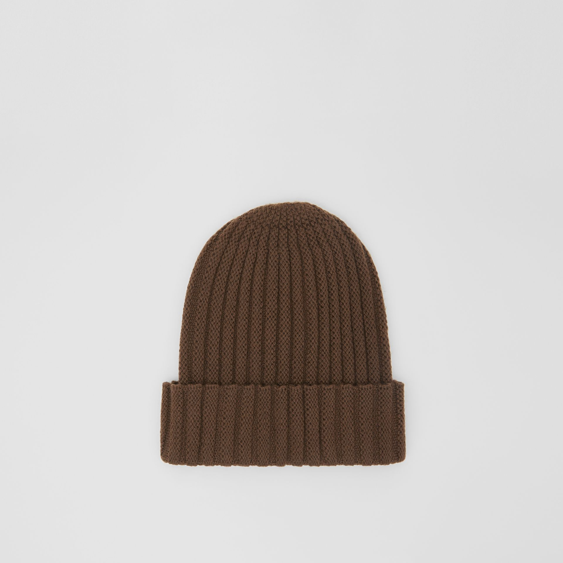 Stripe Detail Rib Knit Wool Beanie in Brown | Burberry United States - gallery image 4