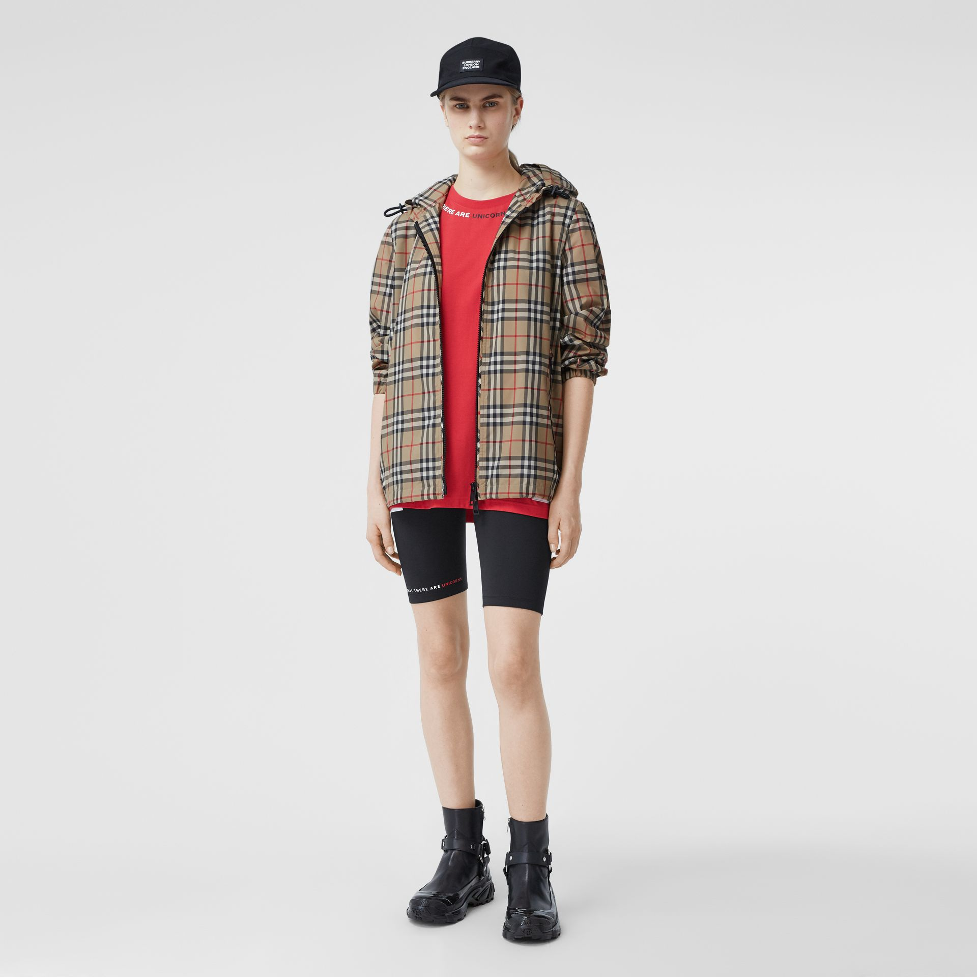 Vintage Check Recycled Polyester Hooded Jacket in Archive Beige - Women | Burberry - gallery image 4